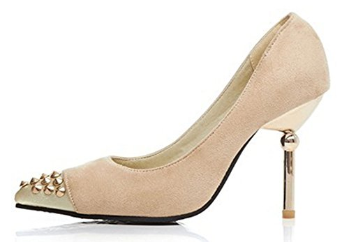 Easemax Womens Fashion Pointed Toe High Stiletto Heel Shoes Studded Pumps Beige 40RShtc