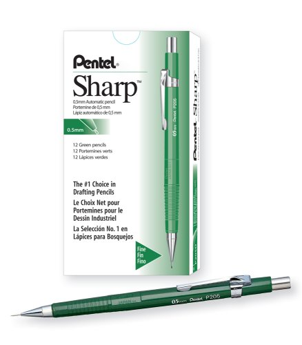 Pentel Sharp Automatic Pencil, 0.5mm Lead Size, Green Barrel, Box of 12 (P205D) Pentel E-sharp Automatic Pencil