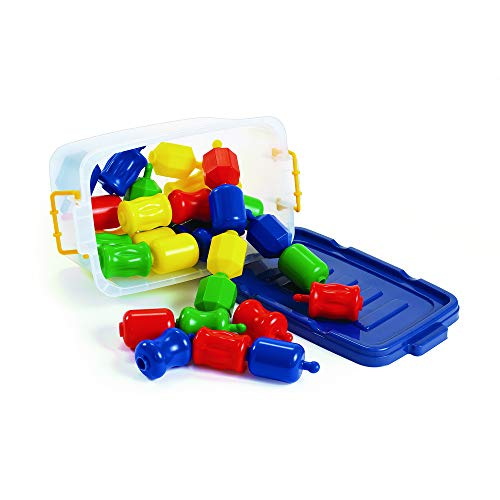 Excellerations Fun Pop Linking Beads with Storage Bin (28 Pieces) - Snap Together and Pull Apart Large Plastic Beads - Great for Toddlers and Preschoolers - Early STEM Toy Develops Fine Motor Skills ()