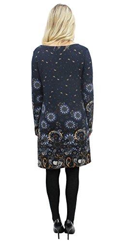Femme Marine Bleu London Manches Purplish Robe Longues IYwUB8qnxT