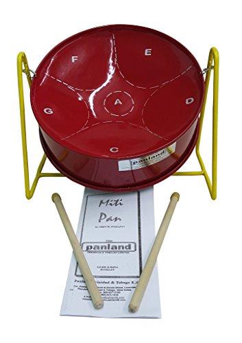 Panland Trinidad & Tobago - Red Mitipan Steelpan MITI04R - Steel (Pan Cardboard Stand)