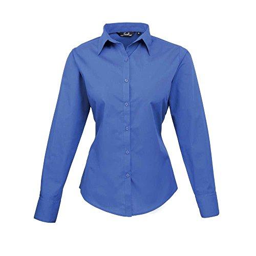 pour en Premier en Chemisier manches marine bleu femme Bleu popeline longues ZXXWpng