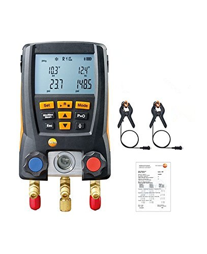 (Digital Manifold Gauge, 2 Valves,System for HVAC With 2PCS Temperature Sensor Clamp Probe (NTC), Soft Case)