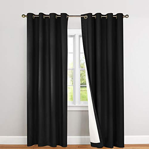 Lined Thermal Blackout Curtains for Living Room 63 Inches Long Light Blocking Curtain Panels for Bedroom, Black, Grommet Top, 2 Panels ()