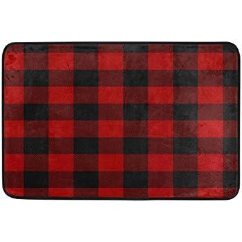 ALAZA Christmas Black Red Plaid Doormat Indoor Outdoor Entrance Floor Mat  Bathroom 23.6 X 15.7 Inch