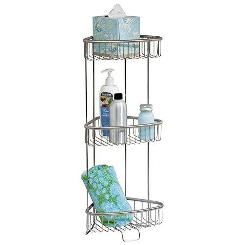 mDesign Mensola angolare – Portaoggetti autoreggente – Mensola a due piani per la doccia in acciaio resistente spazzolato – Ideale anche per asciugamani – argento MetroDecor