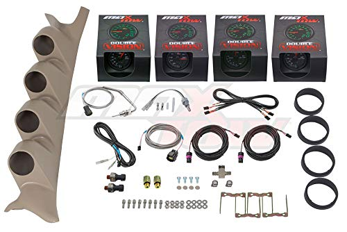 (MaxTow Diesel Gauge Package for 1999-2007 Ford Super Duty F-250 F-350 6.0L 7.3L Power Stroke - Black & Green 60 PSI Boost, 1500 F EGT, Transmission Temp & 100 PSI Fuel Pressure - Tan Quad Pillar Pod)