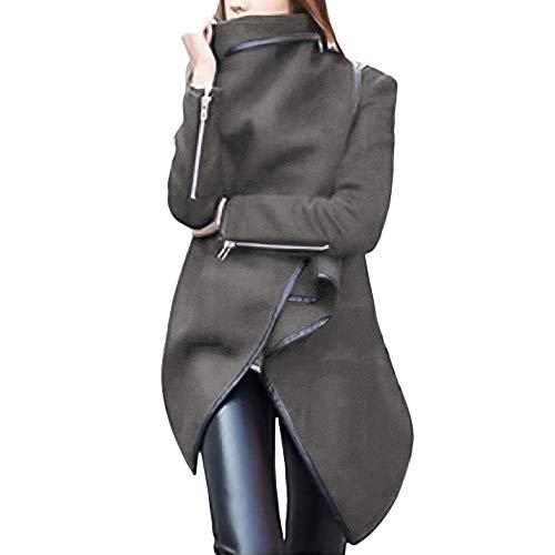 Mysky Fashion Women Irregular Bow Zippers Sleeve Long Warm Coat Ladies Casual Wool Jacket Parka Windbreaker