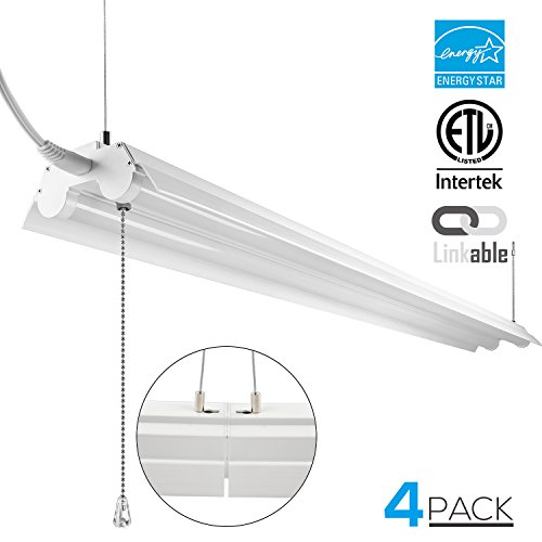 LeonLite 4ft Linkable LED Shop Light, 2-Tube T8 LED, Suit for Workbenches, Garage Lights, ETL & Energy Star Certified, 40W, 5000K Daylight, Pull Chain Switch, Pack of 4