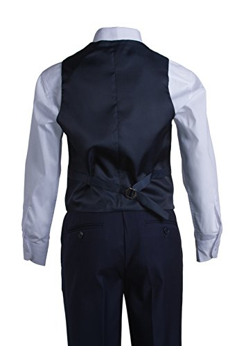Boys Navy Blue Slim Fit Communion Suit with Vest & White Clergy Tie (10 Boys) by Tuxgear (Image #5)