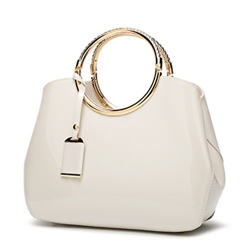 Patent Bag White - Hoxis Charm Glossy Metal Grip Structured Shoulder Handbag Women Satchel (Cream)