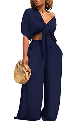 Tie Top Pant - Women's Two Piece Outfits Set Solid Tie Knot Front Crop Top Wide Led Flare Pants
