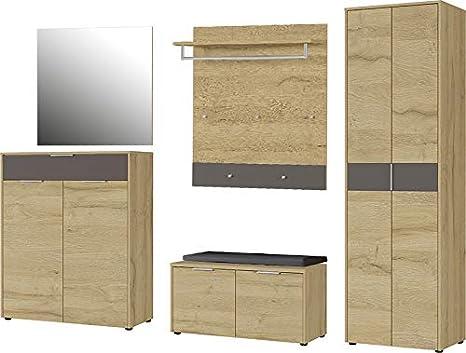 Garderoben Set wei/ß M/öbeldesign Team 2000 5122 3-teilig in Sonoma Eiche s/ägerau