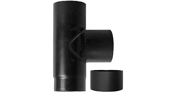 accesorio en T 90 ° fm-f dn 130 para estufa de pellets o de madera tubo de acero esmaltado en negro 600 grados ce hecho en Italia caldera: Amazon.es: ...