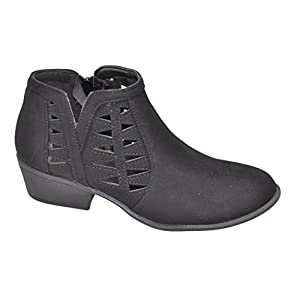 Best Black Faux Leather Zippered Chunky Low Small Heel Loose Fit Comfortable botas Negras Para Mujer Casual Walking Ankle Boot Bootie Shoe 2017 For Sale Women Kid Girl (5.5, Black)