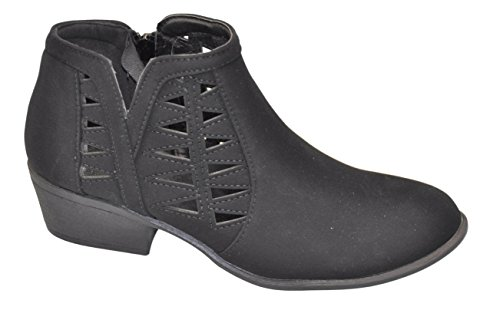 Top Quality Black Faux Leather Zipper High Heel Round Toe Loose Western Classic Fancy Work Dress Zapatos Botines Bajos De Moda Ladies Ankle Bootie Boot Shoe for School Women Girl Junior (7, Black) Botin Ladies Boots