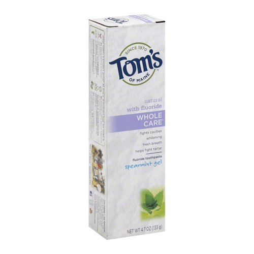 Toms Whole Care Toothpaste (Tom's of Maine Whole Care Gel Toothpaste Spearmint, 4.7 Ounce)