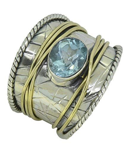 YoTreasure Blue Topaz Solid 925 Sterling Silver Brass Gemstone Spinner -