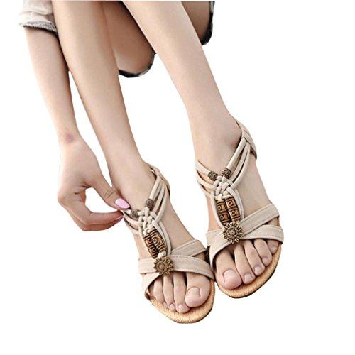 Clode® Damen Sommer Lässige Peep-Toe Flat Schnallenschuhe Sandalen Beige