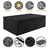 Tvird Patio Furniture Cover Outdoor Table and Chair Cover, Heavy Duty Oxford Fabric Garden Furniture Covers Waterproof Furniture Set Covers Windproof Dust Proof Protective 242 x 162 x 100 cm(Black)