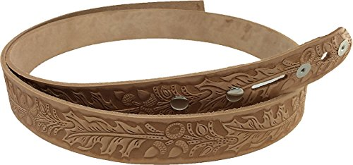 Springfield Leather Company Oak Leaf Embossed Belt Blank with Snaps
