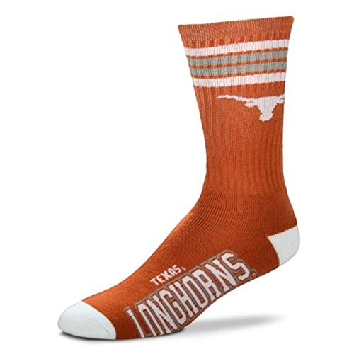 (For Bare Feet Mens NCAA 4 Stripe Deuce Crew Socks, Texas Longhorns, Medium (5-10))