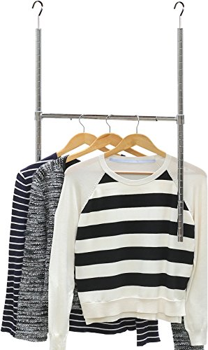 Rod Clothes Hanging (SimpleHouseware Adjustable Closet Hanging Rod, Chrome)