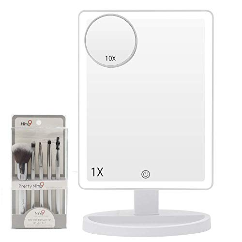 Large Lighted Vanity Makeup Mirror with Makeup Brush Set-3 Color Lighting Modes Light Up Mirror with 44 LED, 360 Rotation Touch Screen and 10X Magnification Portable Tabletop Cosmetic Make Up Mirror