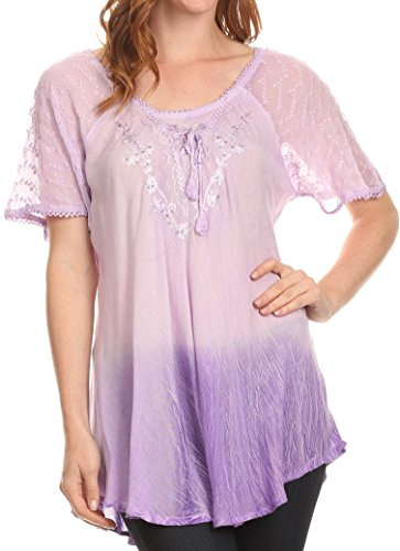 Sakkas 11784 - Vilma Long Blouse With Embroidery Lace Cap Sleeves And Corset Enclosure - Lavender - OSP
