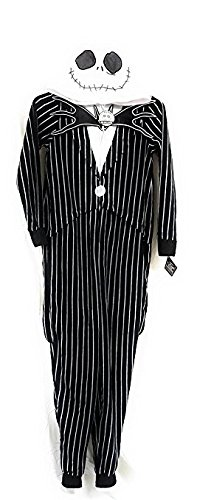 Burton Jack Costumes (Tim Burton's Nightmare Before Christmas Jack Skellington One Piece Union Suit Pajama Costume (M)