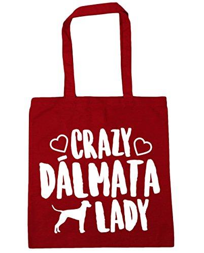 HippoWarehouse Crazy Dálmata Lady Bolso de Playa Bolsa Compra Con Asas para gimnasio 42cm x 38cm 10 litros capacidad Rojo