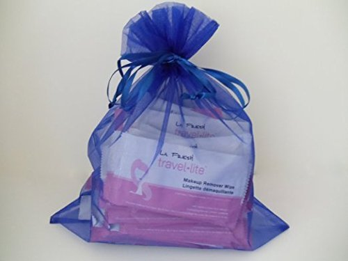 La Fresh Travel Lite Make-up Remover Wipes, Large (30) Individually Packaged in Blue Gift Bag by La Fresh