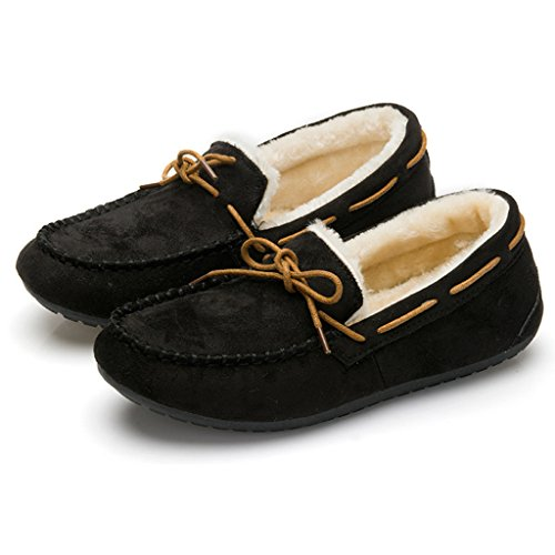 Optimal Womens Winter Casual Slip on Suede Flat Shoes Black e7T2b
