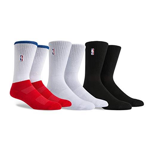 PKWY by Stance NBA Men's Logoman 3-Pack Socks (White/Black/Red, Large) ()