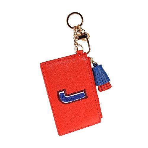 Tory Burch Leather Keyfob Slim Card Case Monogram (Red J)