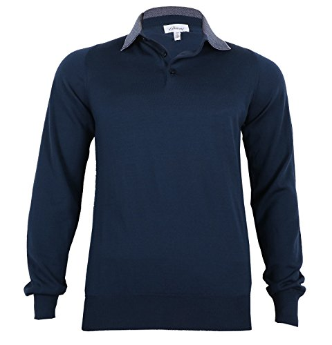 Brioni Men's Wool Polo Sweater Long Sleeve in Blue color, size 48 (S)