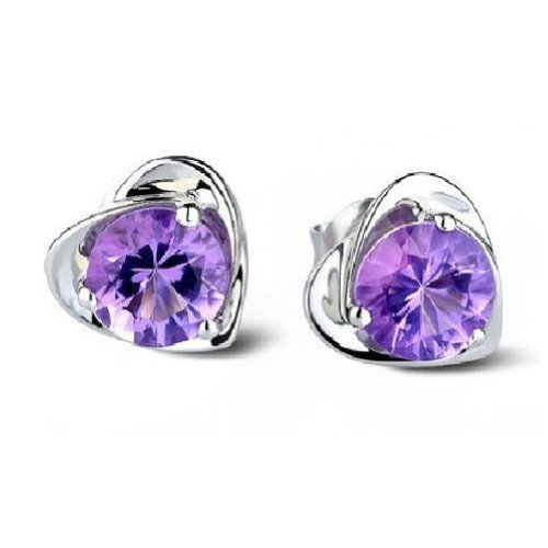 (Sealike Super Cute Amethyst Purple Crystal Diamond Design Heart Shape Stud Earrings Jewelry Women Lady Girls with a Stylus)
