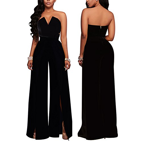 48b4f97dc6a Women s Sexy Tube Top Strapless Split Wide Leg Jumpsuits Rompers Without  Belt Black XL   Jumpsuits   Clothing