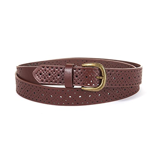 La Redoute Collections Womens Perforated Belt Brown Size 41 In. (Collection Braided Belt)