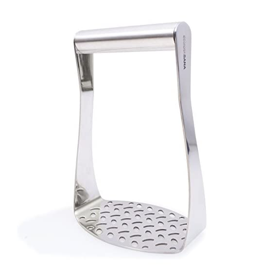 Heavy Duty Potato Masher (STAINLESS STEEL) Wide Efficient Innovative Design - Perfect for Mashed Potatoes, Flattening… 1 MASH POTATOES WITH EASE - Heavy Duty Design Lets You Smash the Strongest of Foods with Ease! STRONG STAINLESS STEEL - 100% Safe & Rust Resistant! MIRROR POLISHED FINISH - Beautiful Chrome Like Design That Looks Great In Any Kitchen!
