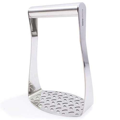 Heavy Duty Potato Masher (STAINLESS STEEL) Wide Efficient Innovative Design - Perfect for Mashed Potatoes, Flattening Chicken, Vegetables, and Much More!