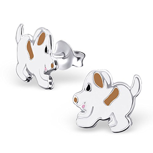 Cute White Brown Dog Earrings 925 Sterling Silver Children Girls Jewelry ()