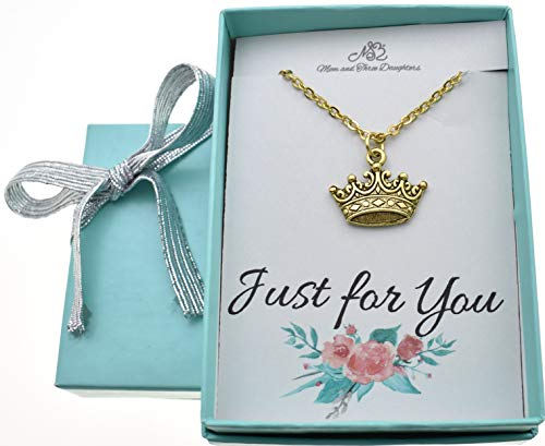 Little girls princess crown necklace in gold plated pewter on a 14