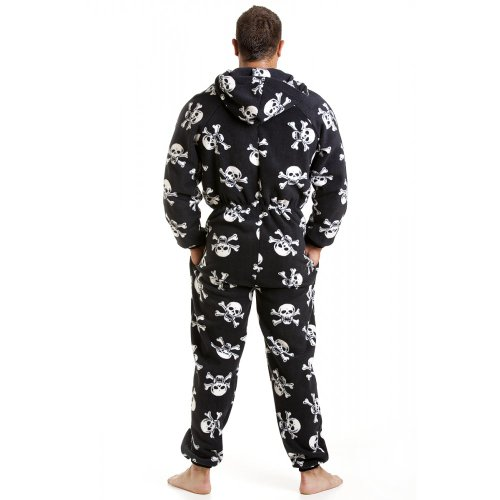 Camille Mens All In One Black And White Skull Print Fleece Pocketed Pajama Onesie XS-4XL at Amazon Mens Clothing store: Pajama Sets