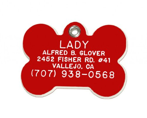 (Bone Shaped Dog Cat Pet ID Tag Custom Engraved Acrylic Plastic 6 Colors & 3 Sizes to Choose From (Message Seller with Engraving Information) by)