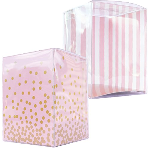 Pink and Gold Party Favors, Individual Cupcake Holders, Clear Plastic Boxes with Inserts, 3x3x4, Blush Pink Gift Box Container, Disposable, Confetti Couture Party Supplies, (Gold Insert Holder)