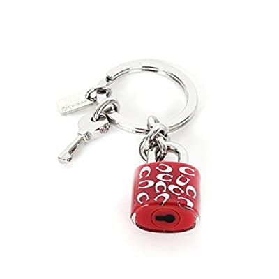 Coach F63985 Sprinkle Lock & Key Key Chain Keychain Ring Pink & Silver