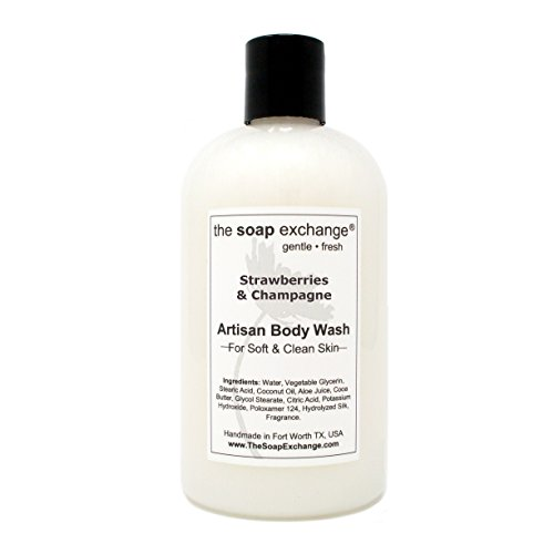 (The Soap Exchange Body Wash - Strawberries & Champagne Scent - Hand Crafted 12 fl oz / 354 ml Natural Artisan Liquid Soap for Hand, Face & Body, Shower Gel, Cleanse, Moisturize, Protect. )