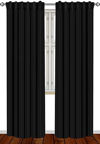 Utopia Bedding 2 Panels Blackout Curtains, W52 x L84 Inches, Black, Thermal Insulated Window Draperies – 7 Back Loops per Panel – 2 Tie Backs Included