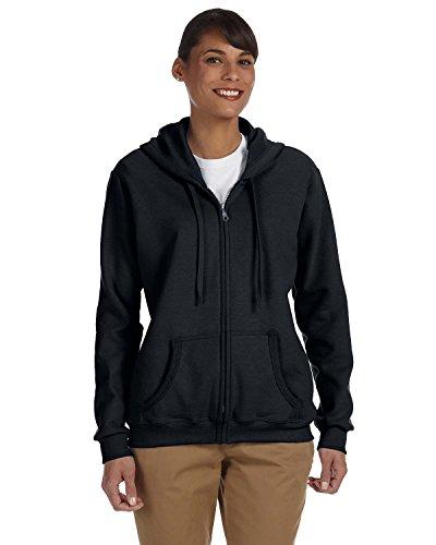 Gildan Heavy Blend Ladies' Full-Zip Hooded Sweatshirt, Blk, Large